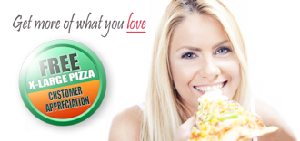 attractive blonde woman eating pizza