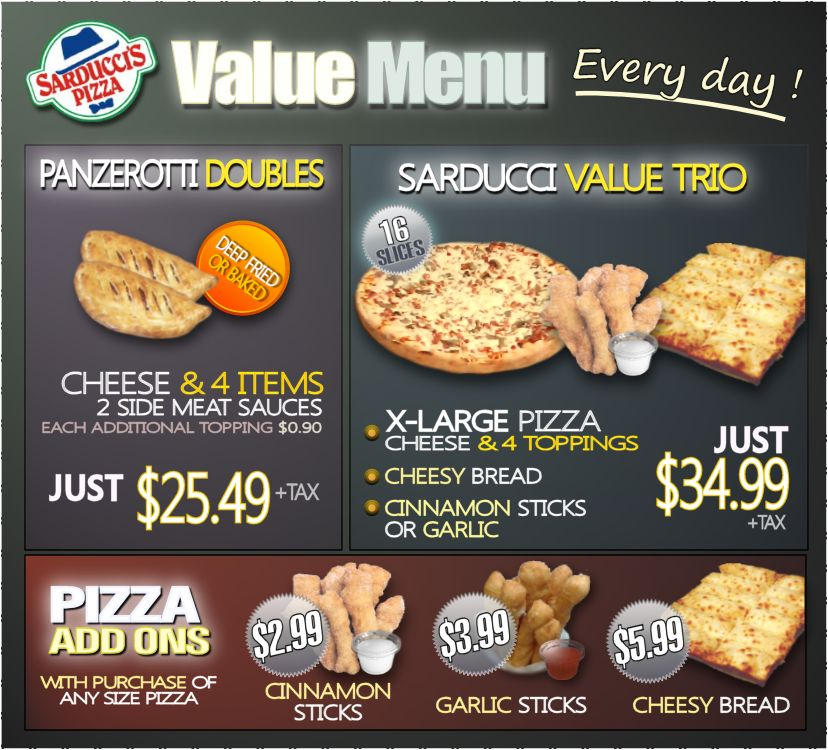 sarducci`s pizza every day value menu